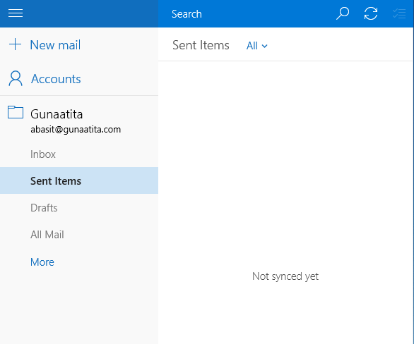 windows 10 mail apps unable to sync email
